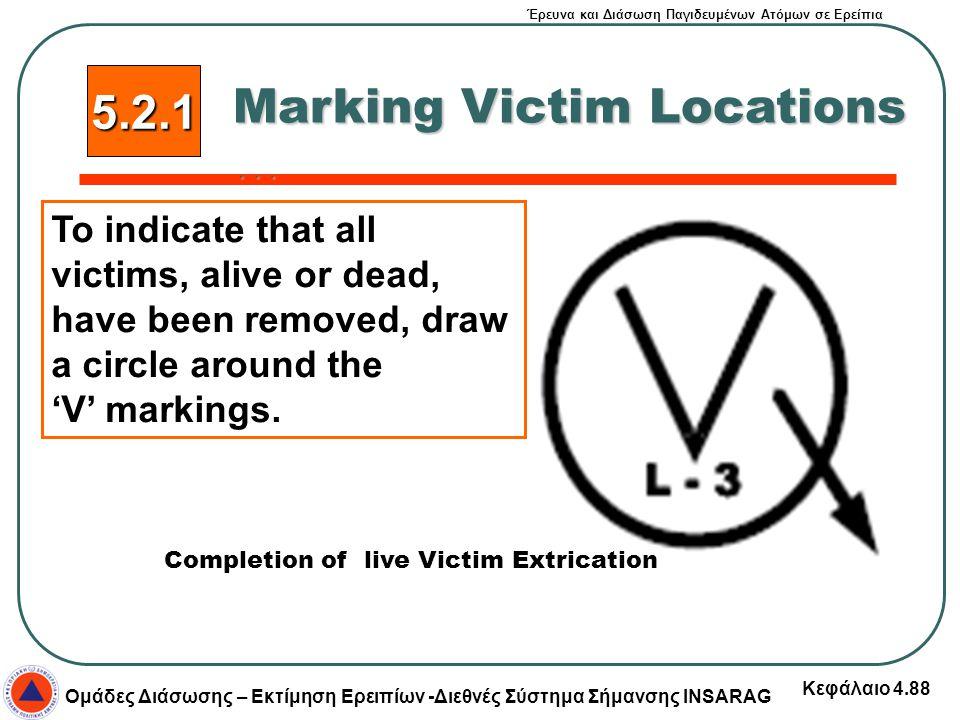 Έρευνα και Διάσωση Παγιδευμένων Ατόμων σε Ερείπια Ομάδες Διάσωσης – Εκτίμηση Ερειπίων -Διεθνές Σύστημα Σήμανσης INSARAG Κεφάλαιο 4.88 5.2.1 Marking Vi