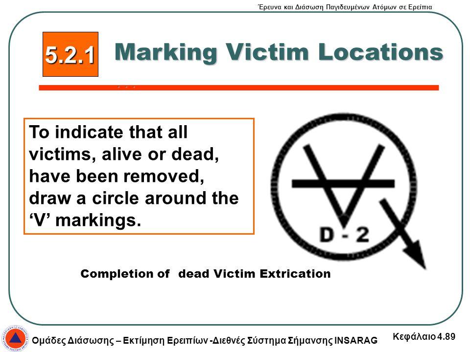 Έρευνα και Διάσωση Παγιδευμένων Ατόμων σε Ερείπια Ομάδες Διάσωσης – Εκτίμηση Ερειπίων -Διεθνές Σύστημα Σήμανσης INSARAG Κεφάλαιο 4.89 5.2.1 Marking Vi
