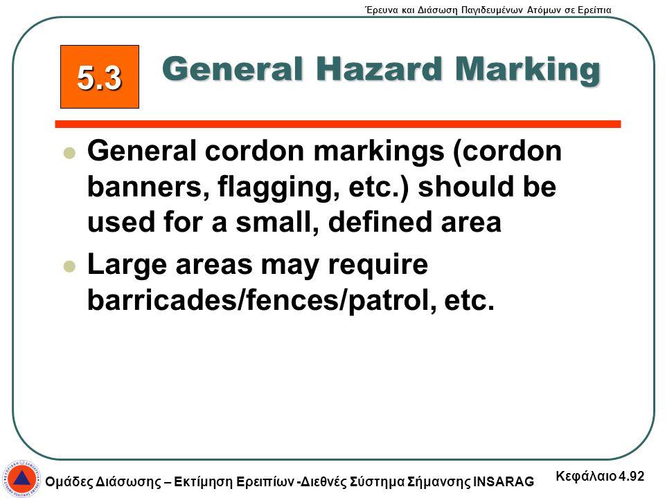 Έρευνα και Διάσωση Παγιδευμένων Ατόμων σε Ερείπια Ομάδες Διάσωσης – Εκτίμηση Ερειπίων -Διεθνές Σύστημα Σήμανσης INSARAG Κεφάλαιο 4.92 General cordon m