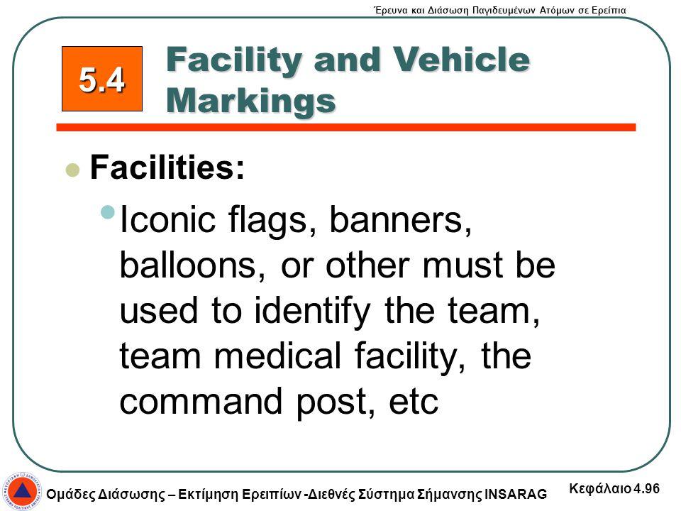 Έρευνα και Διάσωση Παγιδευμένων Ατόμων σε Ερείπια Ομάδες Διάσωσης – Εκτίμηση Ερειπίων -Διεθνές Σύστημα Σήμανσης INSARAG Κεφάλαιο 4.96 Facility and Veh
