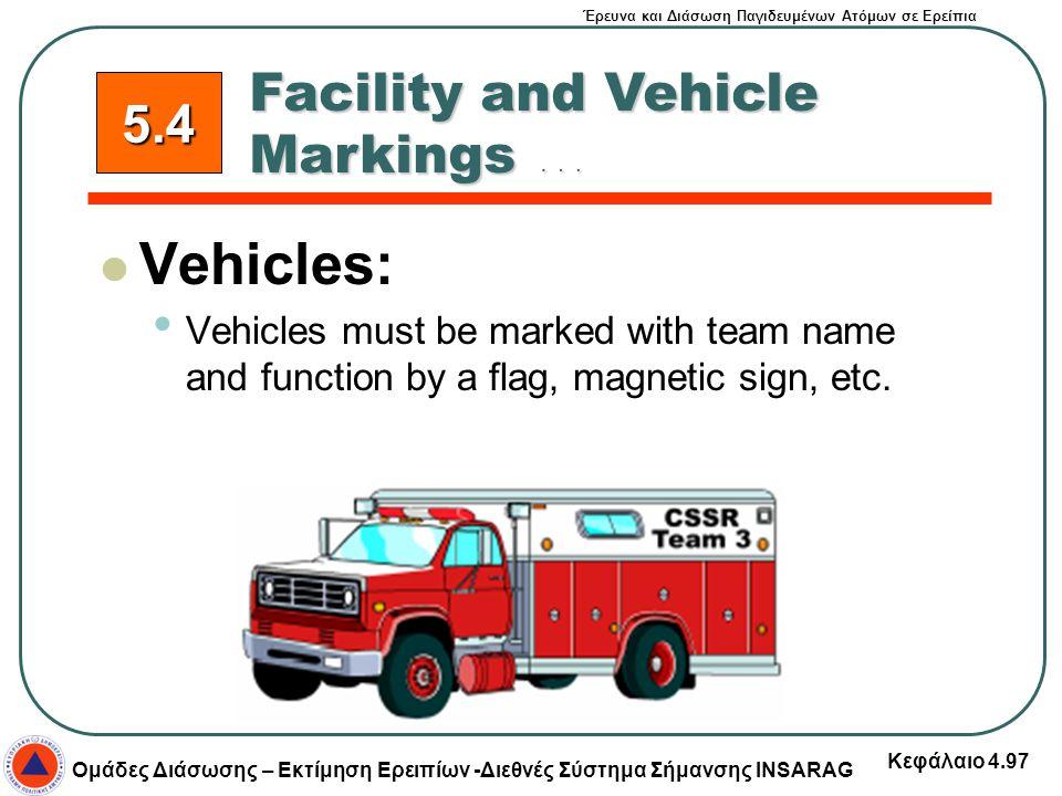 Έρευνα και Διάσωση Παγιδευμένων Ατόμων σε Ερείπια Ομάδες Διάσωσης – Εκτίμηση Ερειπίων -Διεθνές Σύστημα Σήμανσης INSARAG Κεφάλαιο 4.97 5.4 Vehicles: Ve