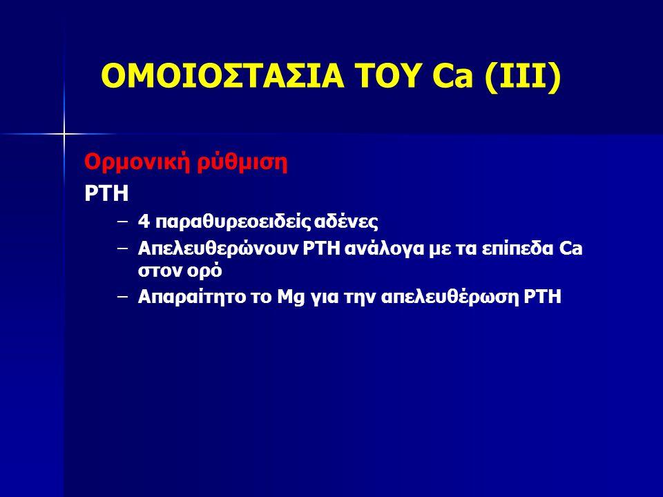 ΟΜΟΙΟΣΤΑΣΙΑ ΤΟΥ Ca (IV) Ορμονική ρύθμιση vitD