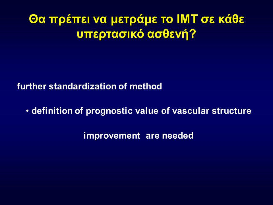 Antihypertensive treatment and IMT changes Results of double blind randomized trials StudyIMTPatientsFollow-upEffect of treatment MIDAS Mean max 12 sites EH3Isradipine=HCTZ VHAS Mean max IMT 6 sites Thickening Plaque EH4 Verapamil=chlorthalidone Verapamil better than chlorthalidone ELSA Mean max IMT 4 sites EH4 Lacidipine better than atenolol INSIGHT IMTMean IMT CCEH4 Nifedipine better than HCTZ+amiloride PHYLLISCBmax EH + Hyperchol 3Fosinopril better than HCTZ