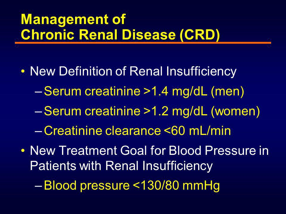 End- Stage Progression Initiation At Risk Cardiovascular disease CHF Arteriosclerotic cardiovascular disease events Coronary artery disease Left ventricular hypertrophy Coronary artery disease Left ventricular hypertrophy Elderly, DM,  BP Chronic renal disease ESRD Chronic renal insufficiency (  GFR) Albuminuria Proteinuria Elderly, DM,  BP Adapted from Sarnak and Levey, Am J Kidney Dis 2000;35:S117–31.
