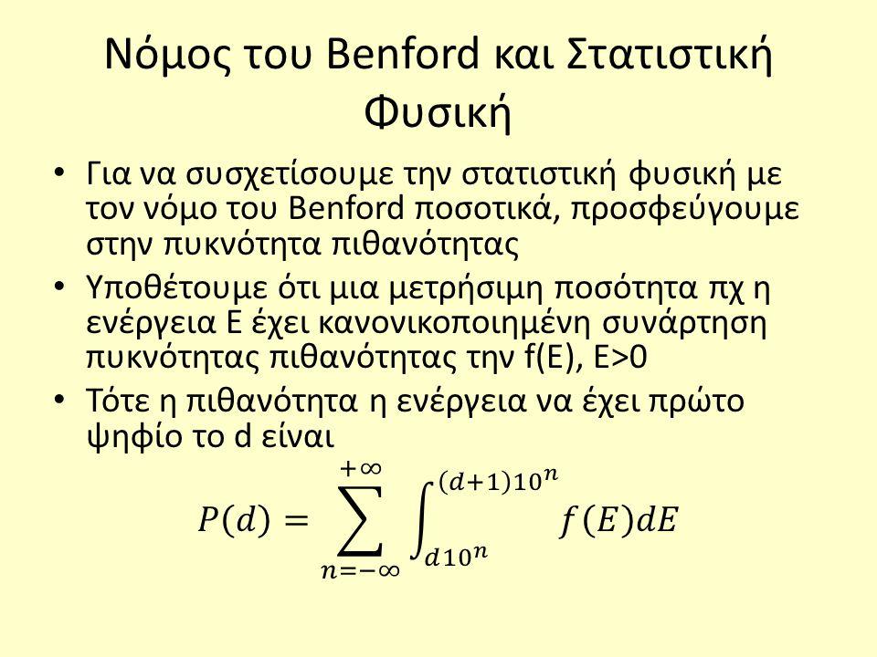 Νόμος του Benford και Στατιστική Φυσική