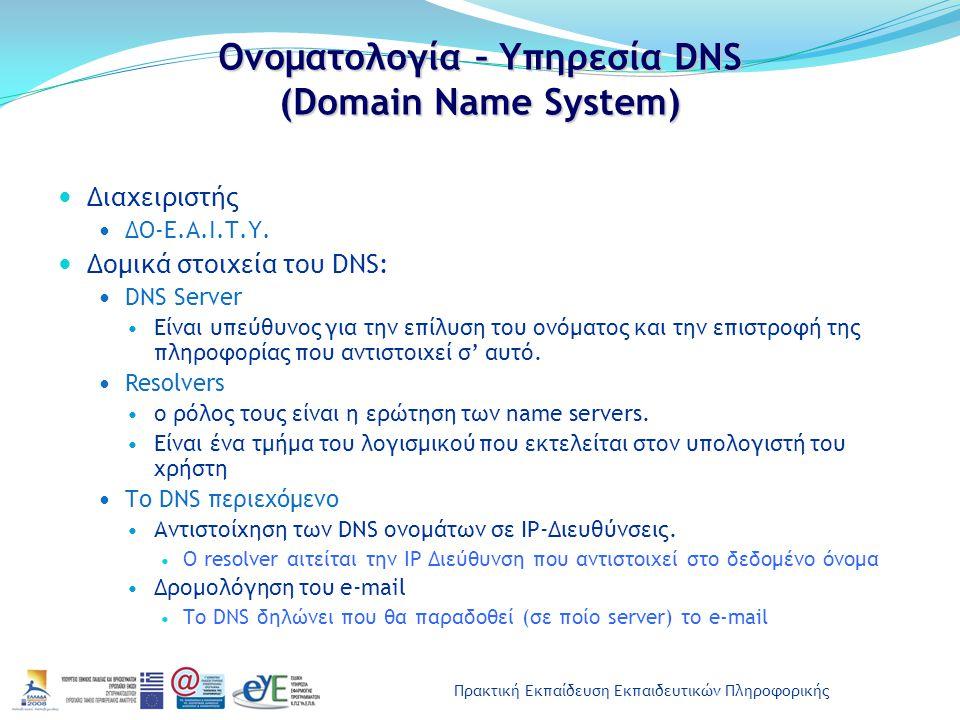 Πρακτική Εκπαίδευση Εκπαιδευτικών Πληροφορικής Ονοματολογία – Υπηρεσία DNS (Domain Name System) Διαχειριστής ΔΟ-Ε.Α.Ι.Τ.Υ. Δομικά στοιχεία του DNS: DN