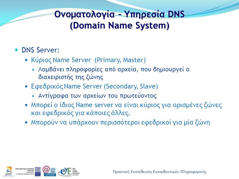 Πρακτική Εκπαίδευση Εκπαιδευτικών Πληροφορικής Ονοματολογία – Υπηρεσία DNS (Domain Name System) DNS Server: Κύριος Name Server (Primary, Master) Λαμβά