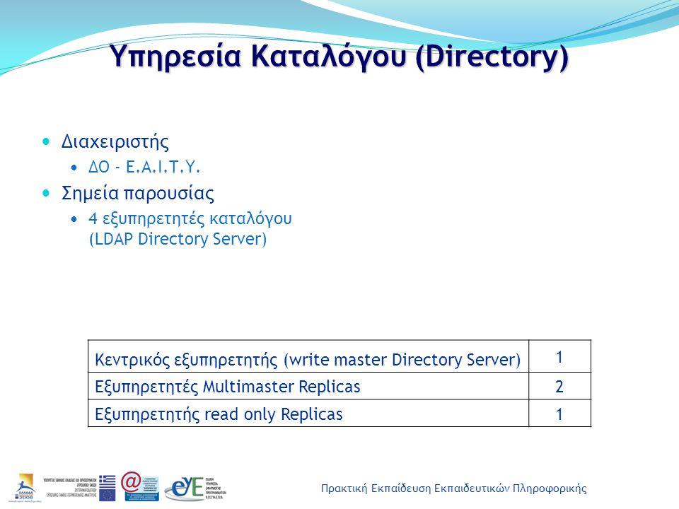 Πρακτική Εκπαίδευση Εκπαιδευτικών Πληροφορικής Υπηρεσία Καταλόγου (Directory) Διαχειριστής ΔΟ - Ε.Α.Ι.Τ.Υ. Σημεία παρουσίας 4 εξυπηρετητές καταλόγου (