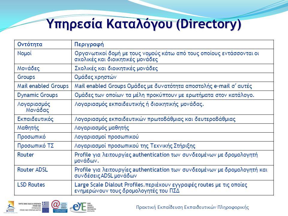 Πρακτική Εκπαίδευση Εκπαιδευτικών Πληροφορικής Υπηρεσία Καταλόγου (Directory) ΟντότηταΠεριγραφή ΝομοίΟργανωτικοί δομή με τους νομούς κάτω από τους οπο