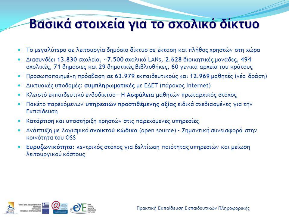 Πρακτική Εκπαίδευση Εκπαιδευτικών Πληροφορικής Υπηρεσία Web Mail http://webmail.sch.gr Υπηρεσίες και λειτουργίες: Διαχείριση Αλληλογραφίας Διαχείριση ηλεκτρονικών διευθύνσεων Ημερολόγιο Διαχείριση εργασιών (ToDo list) Διαχείριση σημειώσεων (Σημειωματάριο) Δυνατότητες εφαρμογής : Περιληπτική κατάσταση e-mail, γεγονότων ημερολογίου, σημειώσεων και εργασιών Πλήρως παραμετροποιημένη εφαρμογή (επιλογές εφαρμογής) Online help, εγχειρίδιο με συχνές ερωτήσεις χρηστών (FAQ)