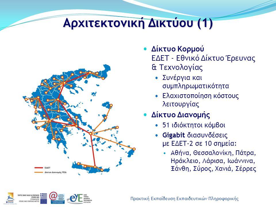 Πρακτική Εκπαίδευση Εκπαιδευτικών Πληροφορικής Αρχιτεκτονική Δικτύου (1) Δίκτυο Κορμού ΕΔΕΤ - Εθνικό Δίκτυο Έρευνας & Τεχνολογίας Συνέργια και συμπληρ