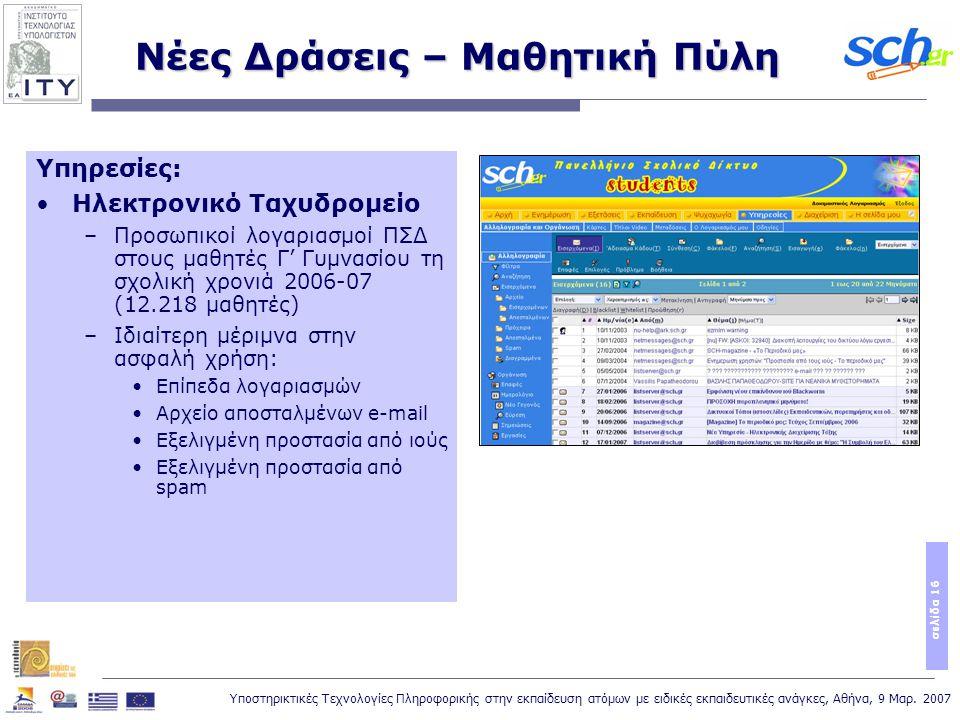 Υποστηρικτικές Τεχνολογίες Πληροφορικής στην εκπαίδευση ατόμων με ειδικές εκπαιδευτικές ανάγκες, Αθήνα, 9 Μαρ. 2007 σελίδα 16 Νέες Δράσεις – Μαθητική
