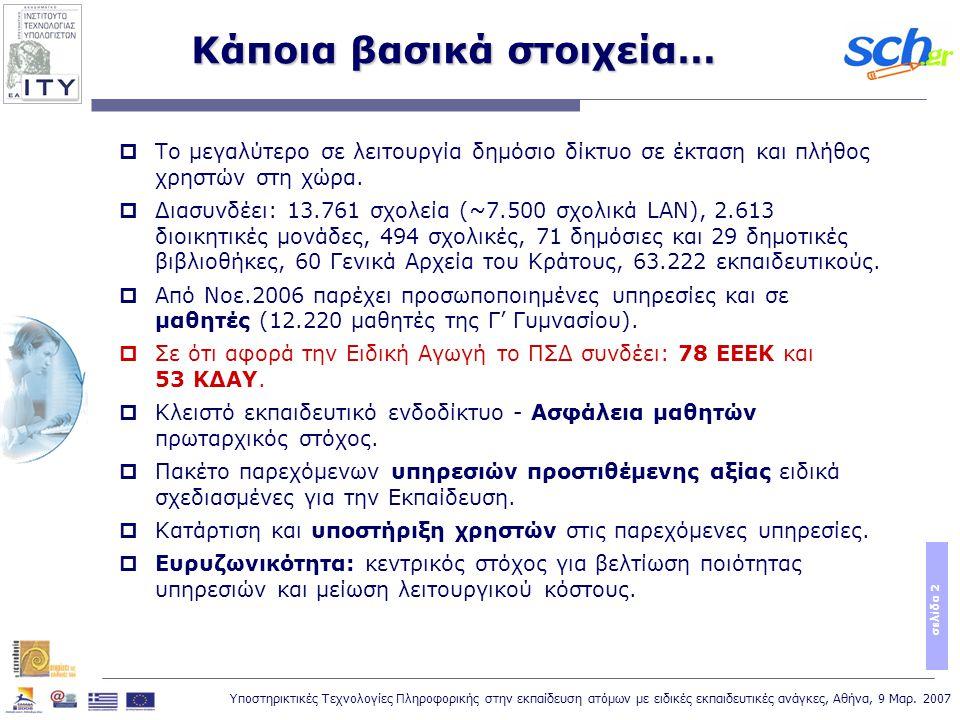 Υποστηρικτικές Τεχνολογίες Πληροφορικής στην εκπαίδευση ατόμων με ειδικές εκπαιδευτικές ανάγκες, Αθήνα, 9 Μαρ. 2007 σελίδα 2 Κάποια βασικά στοιχεία… 