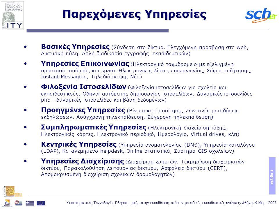 Υποστηρικτικές Τεχνολογίες Πληροφορικής στην εκπαίδευση ατόμων με ειδικές εκπαιδευτικές ανάγκες, Αθήνα, 9 Μαρ. 2007 σελίδα 4 Βασικές Υπηρεσίες (Σύνδεσ