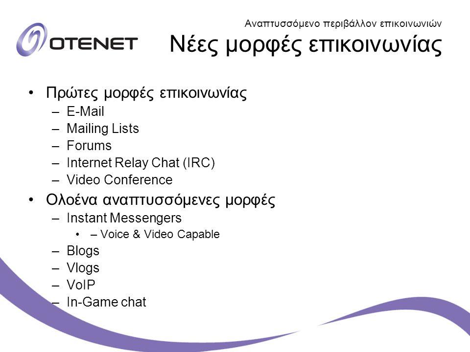 Αναπτυσσόμενο περιβάλλον επικοινωνιών Νέες μορφές επικοινωνίας Πρώτες μορφές επικοινωνίας –E-Mail –Mailing Lists –Forums –Internet Relay Chat (IRC) –V
