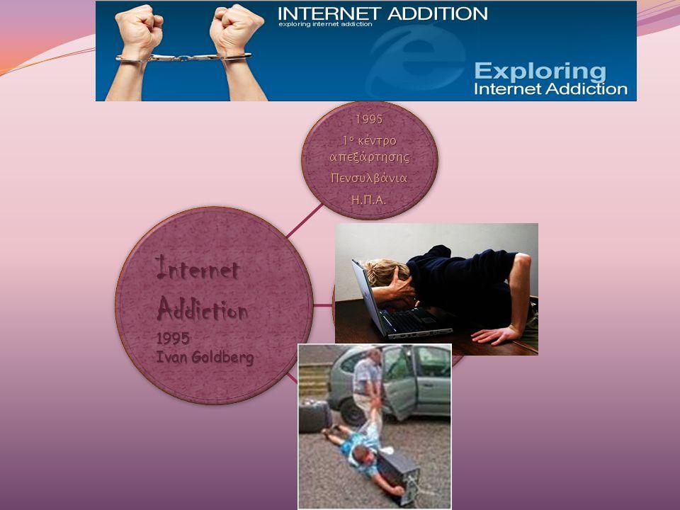1995 1 ο κέντρο απεξάρτησης ΠενσυλβάνιαΗ.Π.Α. 1997 ανακοινώνεται η 1 η περίπτωση εθισμού στο internet σε ενήλικα ακολουθούν πολλαπλές αναφορές σε εφήβ