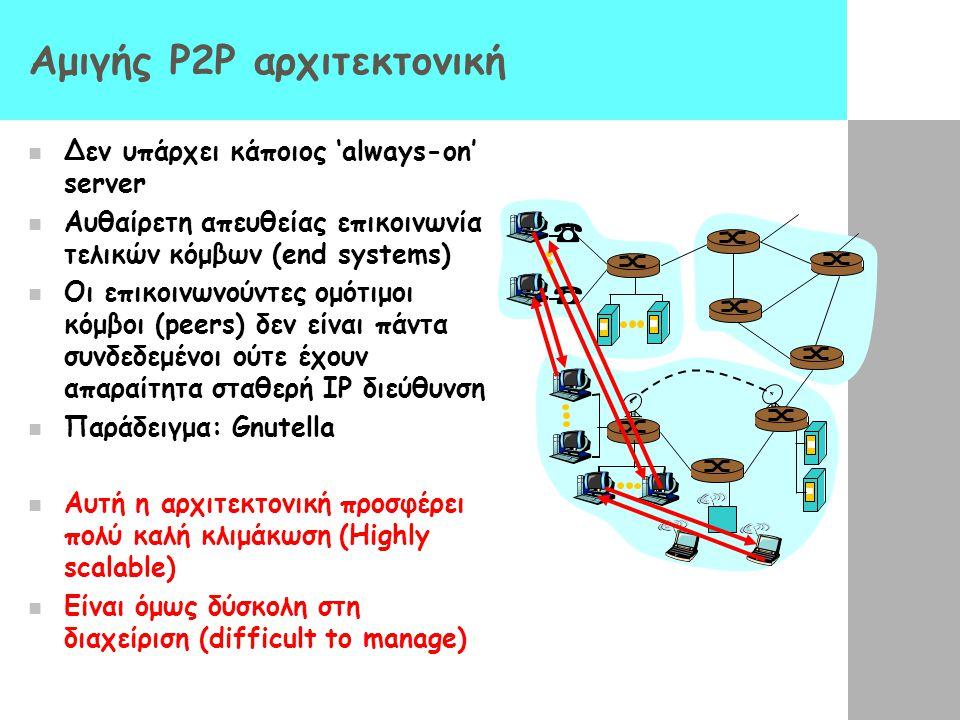 Αμιγής P2P αρχιτεκτονική Δεν υπάρχει κάποιος 'always-on' server Αυθαίρετη απευθείας επικοινωνία τελικών κόμβων (end systems) Οι επικοινωνούντες ομότιμ