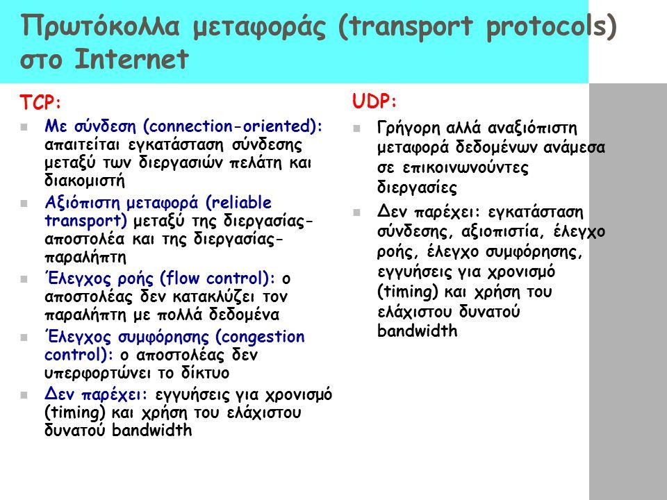 Πρωτόκολλα μεταφοράς (transport protocols) στο Internet TCP: Με σύνδεση (connection-oriented): απαιτείται εγκατάσταση σύνδεσης μεταξύ των διεργασιών π