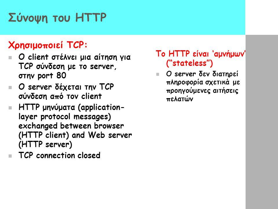Σύνοψη του HTTP Χρησιμοποιεί TCP: Ο client στέλνει μια αίτηση για TCP σύνδεση με το server, στην port 80 Ο server δέχεται την TCP σύνδεση από τον clie