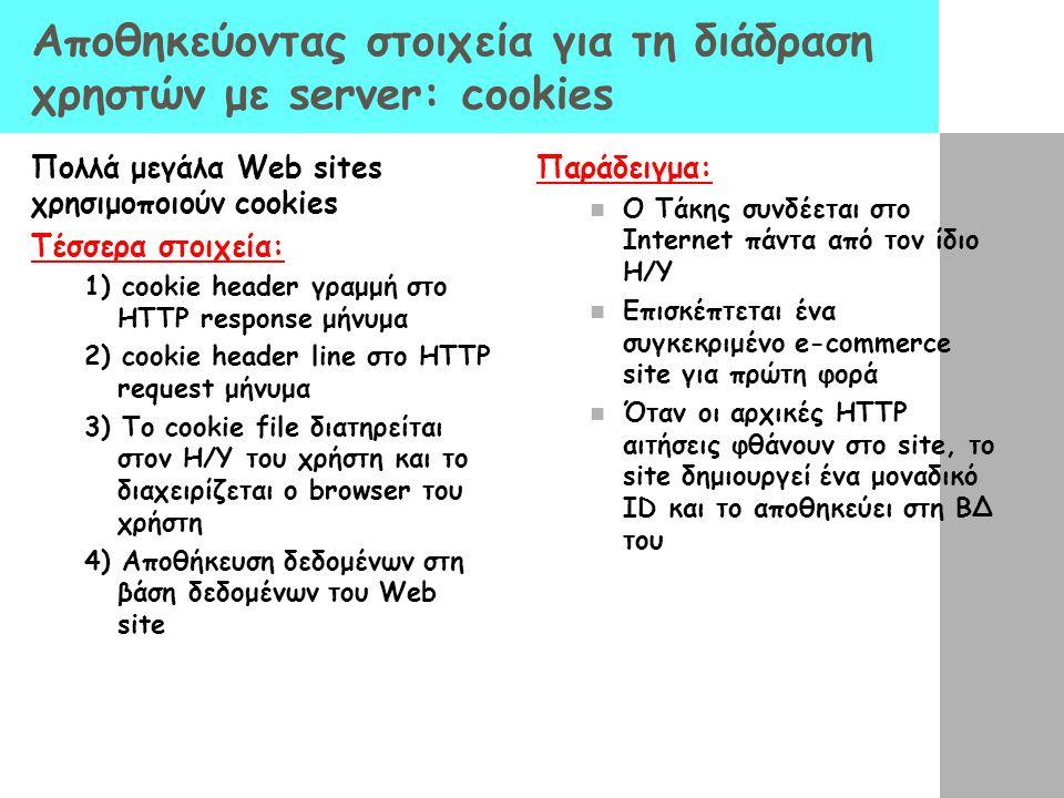 Αποθηκεύοντας στοιχεία για τη διάδραση χρηστών με server: cookies Πολλά μεγάλα Web sites χρησιμοποιούν cookies Τέσσερα στοιχεία: 1) cookie header γραμ