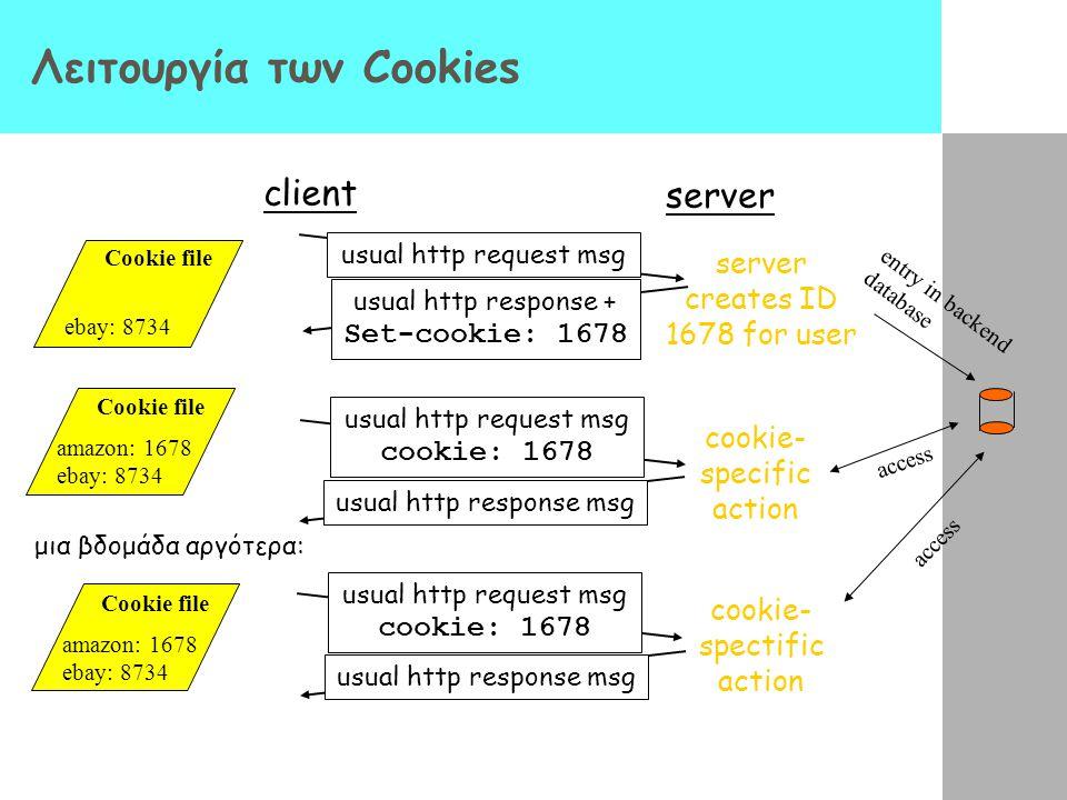 Λειτουργία των Cookies client server usual http request msg usual http response + Set-cookie: 1678 usual http request msg cookie: 1678 usual http resp