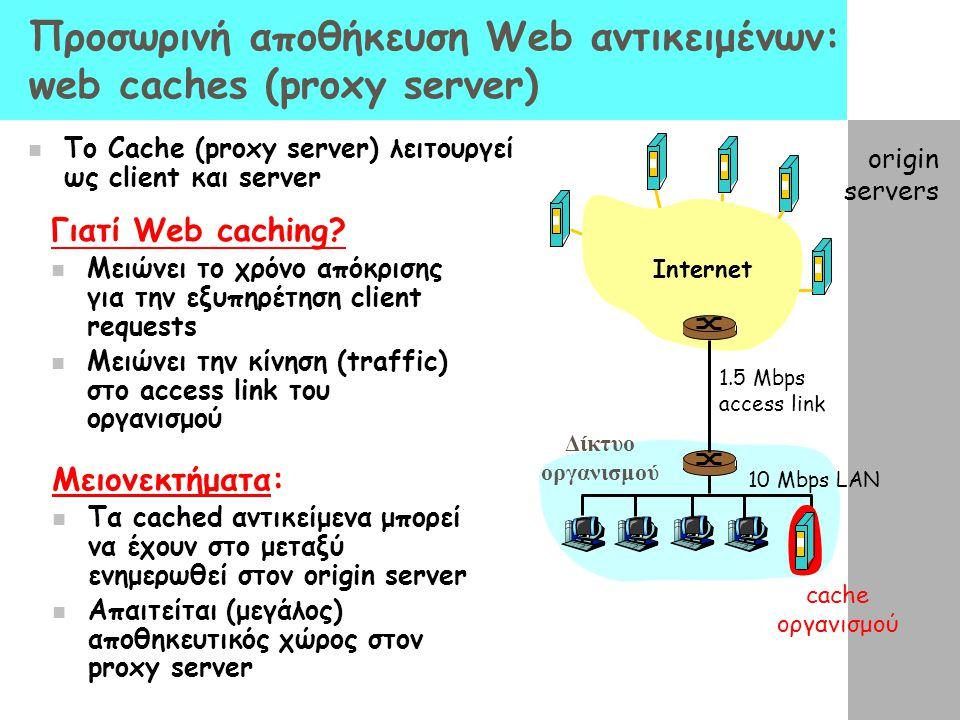 Προσωρινή αποθήκευση Web αντικειμένων: web caches (proxy server) To Cache (proxy server) λειτουργεί ως client και server Γιατί Web caching? Μειώνει το