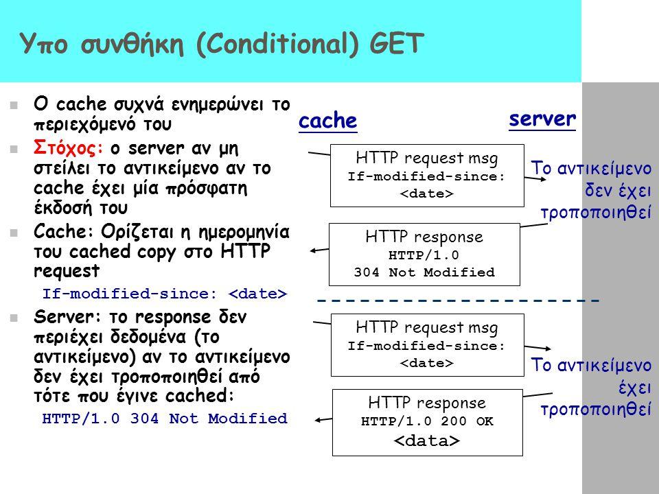 Υπο συνθήκη (Conditional) GET O cache συχνά ενημερώνει το περιεχόμενό του Στόχος: ο server αν μη στείλει το αντικείμενο αν το cache έχει μία πρόσφατη