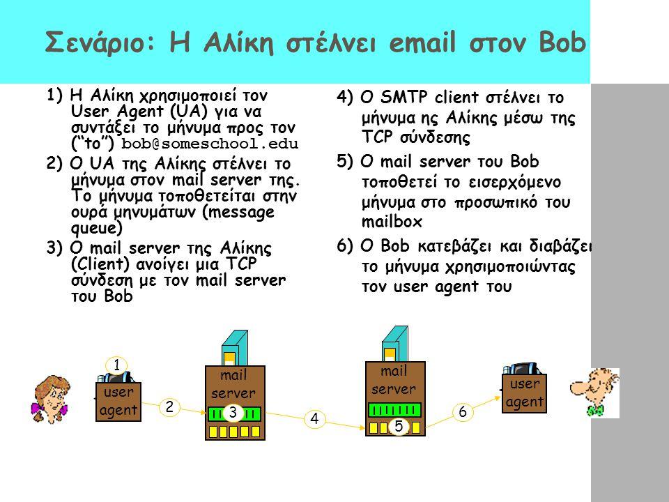 """Σενάριο: Η Αλίκη στέλνει email στον Bob 1) Η Αλίκη χρησιμοποιεί τον User Agent (UA) για να συντάξει το μήνυμα προς τον (""""to"""") bob@someschool.edu 2) Ο"""