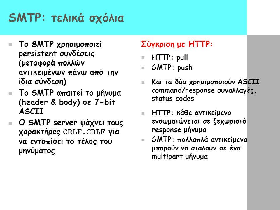 SMTP: τελικά σχόλια Το SMTP χρησιμοποιεί persistent συνδέσεις (μεταφορά πολλών αντικειμένων πάνω από την ίδια σύνδεση) Το SMTP απαιτεί το μήνυμα (head