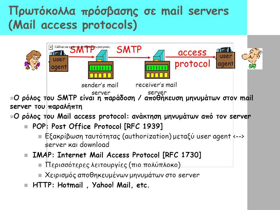 Πρωτόκολλα πρόσβασης σε mail servers (Mail access protocols) Ο ρόλος του SMTP είναι η παράδοση / αποθήκευση μηνυμάτων στον mail server του παραλήπτη Ο