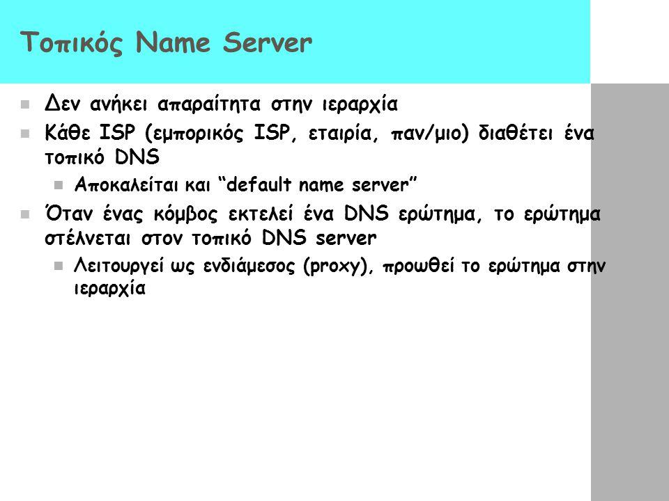 """Τοπικός Name Server Δεν ανήκει απαραίτητα στην ιεραρχία Κάθε ISP (εμπορικός ISP, εταιρία, παν/μιο) διαθέτει ένα τοπικό DNS Αποκαλείται και """"default na"""