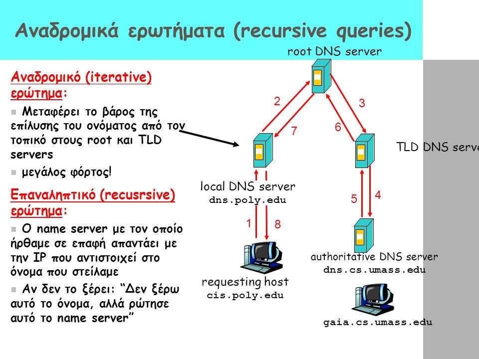 requesting host cis.poly.edu gaia.cs.umass.edu root DNS server local DNS server dns.poly.edu 1 2 4 5 6 authoritative DNS server dns.cs.umass.edu 7 8 T