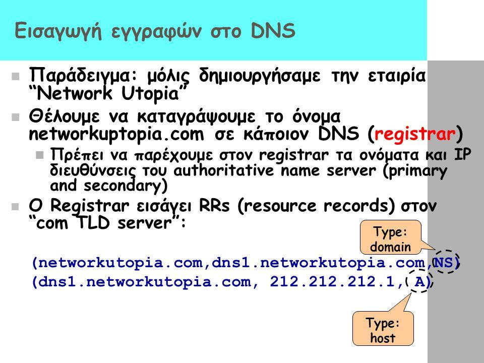 """Εισαγωγή εγγραφών στο DNS Παράδειγμα: μόλις δημιουργήσαμε την εταιρία """"Network Utopia"""" Θέλουμε να καταγράψουμε το όνομα networkuptopia.com σε κάποιον"""