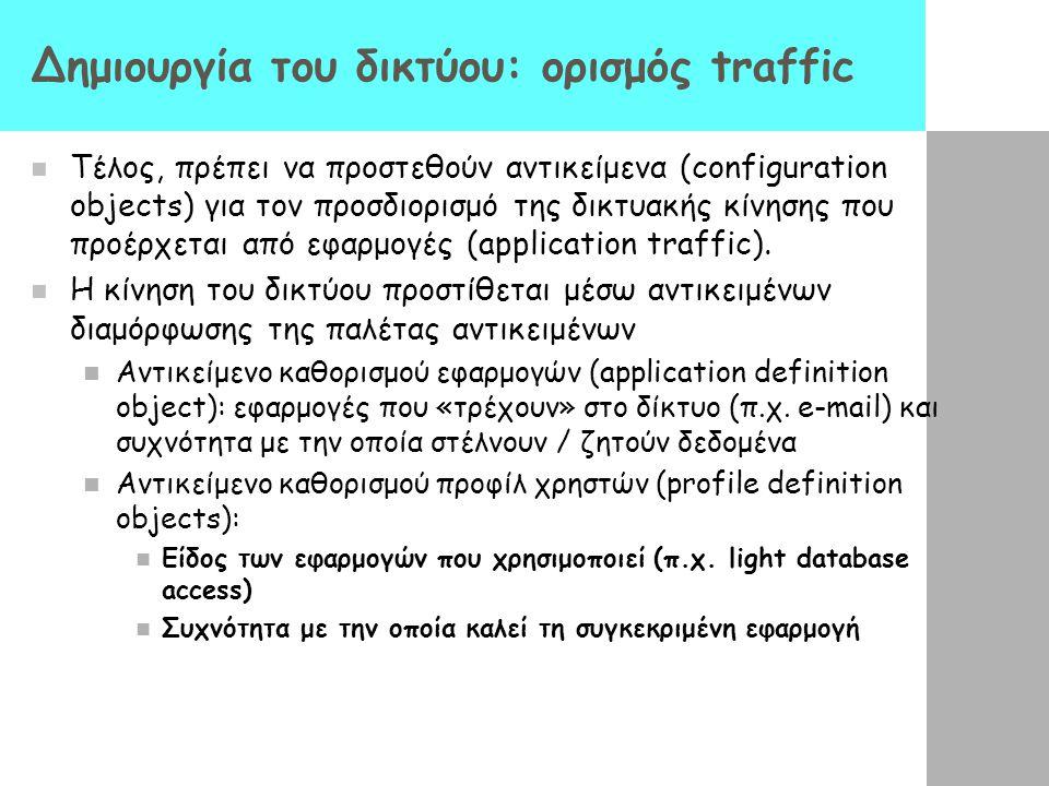 Δημιουργία του δικτύου: ορισμός traffic Τέλος, πρέπει να προστεθούν αντικείμενα (configuration objects) για τον προσδιορισμό της δικτυακής κίνησης που