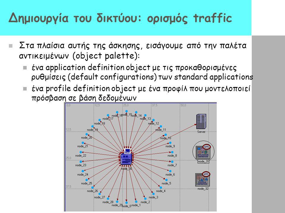 Δημιουργία του δικτύου: ορισμός traffic Στα πλαίσια αυτής της άσκησης, εισάγουμε από την παλέτα αντικειμένων (object palette): ένα application definit