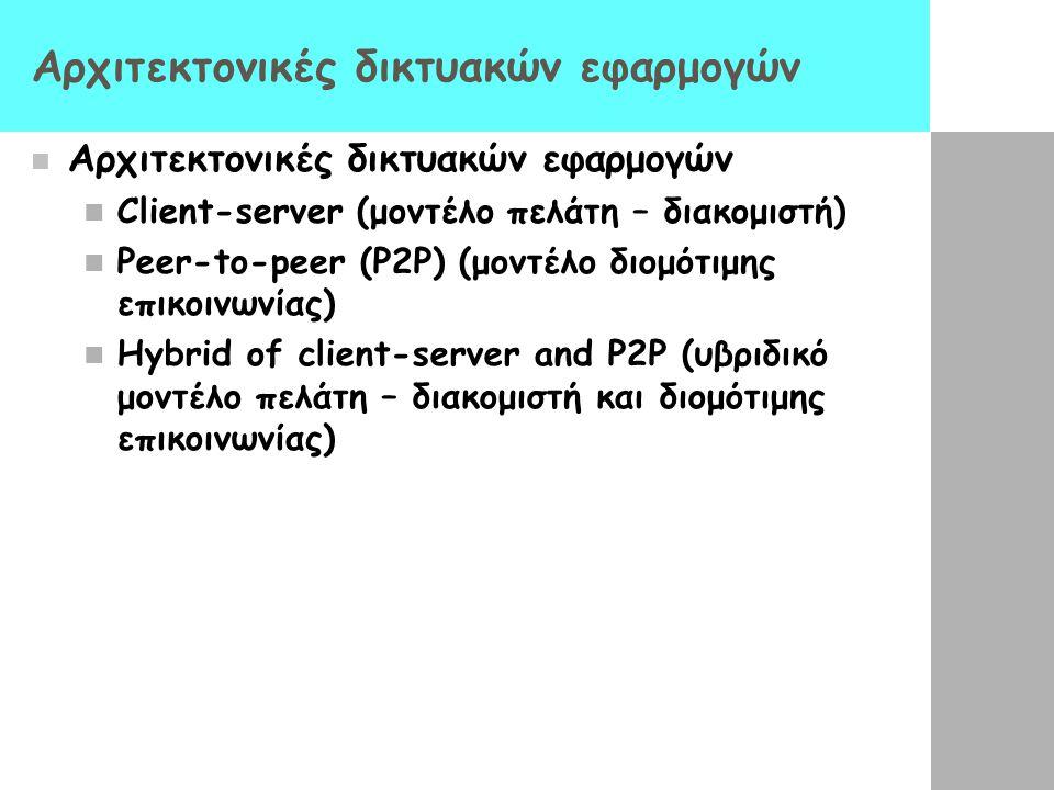 Αρχιτεκτονική client-server Διακομιστής (server): Ένας κόμβος που είναι πάντα 'ανοικτός' (always- on host) Σταθερή IP διεύθυνση Πολλαπλοί servers (server farms) για καλύτερη κλιμάκωση Πελάτες (clients): Επικοινωνούν με servers Δεν είναι πάντοτε on ή συνδεδεμένοι Μπορεί να έχουν δυναμικές IP διευθύνσεις Δεν επικοινωνούν απ' ευθείας μεταξύ τους