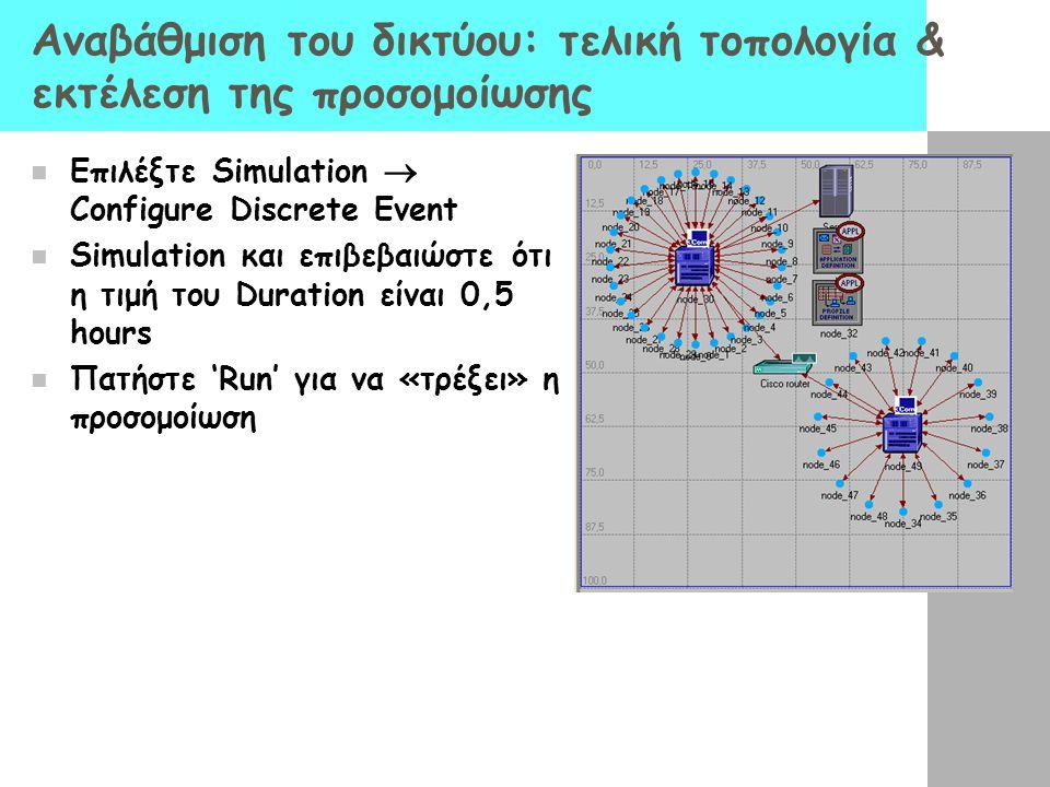 Αναβάθμιση του δικτύου: τελική τοπολογία & εκτέλεση της προσομοίωσης Επιλέξτε Simulation  Configure Discrete Event Simulation και επιβεβαιώστε ότι η