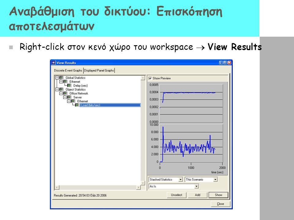 Αναβάθμιση του δικτύου: Επισκόπηση αποτελεσμάτων Right-click στον κενό χώρο του workspace  View Results