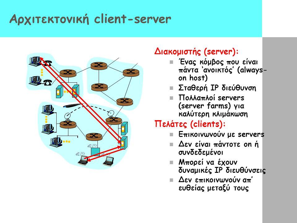 Αρχιτεκτονική client-server Διακομιστής (server): Ένας κόμβος που είναι πάντα 'ανοικτός' (always- on host) Σταθερή IP διεύθυνση Πολλαπλοί servers (ser
