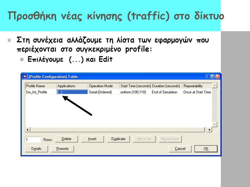 Προσθήκη νέας κίνησης (traffic) στο δίκτυο Στη συνέχεια αλλάζουμε τη λίστα των εφαρμογών που περιέχονται στο συγκεκριμένο profile: Επιλέγουμε (...) κα