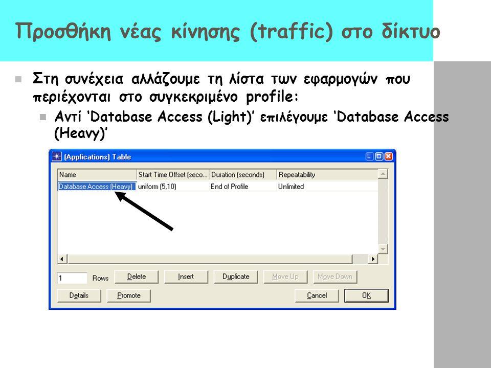 Προσθήκη νέας κίνησης (traffic) στο δίκτυο Στη συνέχεια αλλάζουμε τη λίστα των εφαρμογών που περιέχονται στο συγκεκριμένο profile: Αντί 'Database Acce