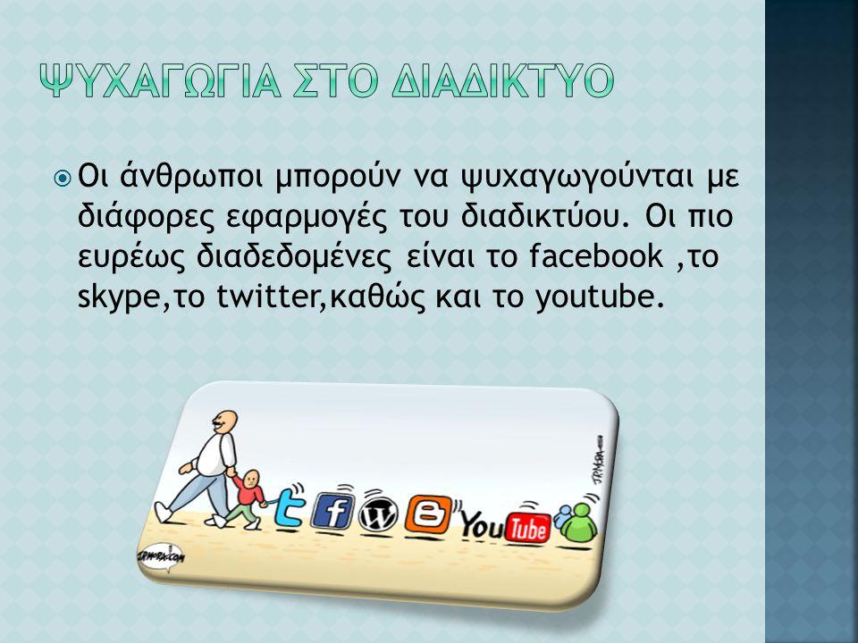 Οι άνθρωποι μπορούν να ψυχαγωγούνται με διάφορες εφαρμογές του διαδικτύου. Οι πιο ευρέως διαδεδομένες είναι το facebook,το skype,το twitter,καθώς κα