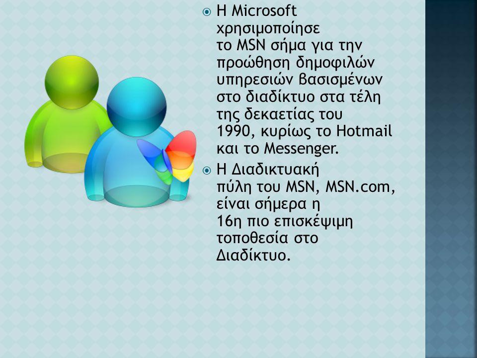  Η Microsoft χρησιμοποίησε το MSN σήμα για την προώθηση δημοφιλών υπηρεσιών βασισμένων στο διαδίκτυο στα τέλη της δεκαετίας του 1990, κυρίως το Hotma
