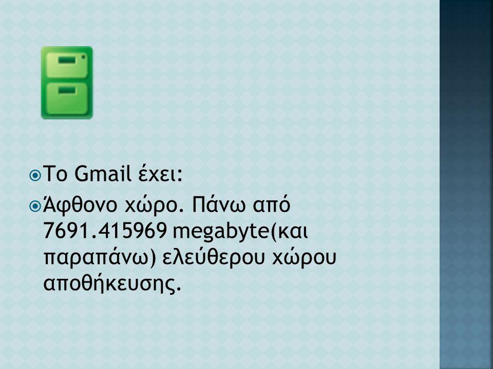  Το Gmail έχει:  Άφθονο χώρο. Πάνω από 7691.415969 megabyte(και παραπάνω) ελεύθερου χώρου αποθήκευσης.