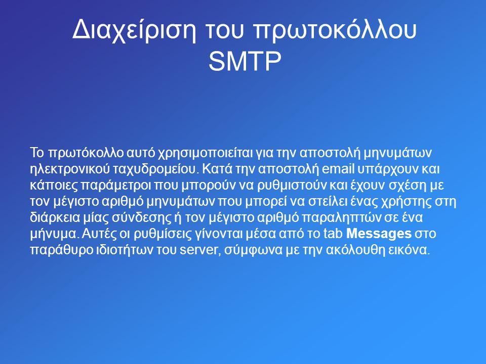 Διαχείριση του πρωτοκόλλου SMTP Το πρωτόκολλο αυτό χρησιμοποιείται για την αποστολή μηνυμάτων ηλεκτρονικού ταχυδρομείου.