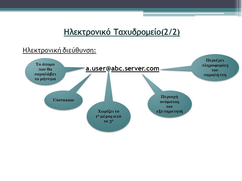 Ηλεκτρονική διεύθυνση: a.user@abc.server.com Το άτομο που θα παραλάβει το μήνυμα Χωρίζει το 1 ο μέρος από το 3 ο Περιοχή ονόματος του εξυπηρετητή Περιέχει πληροφορίες του παραλήπτη Username