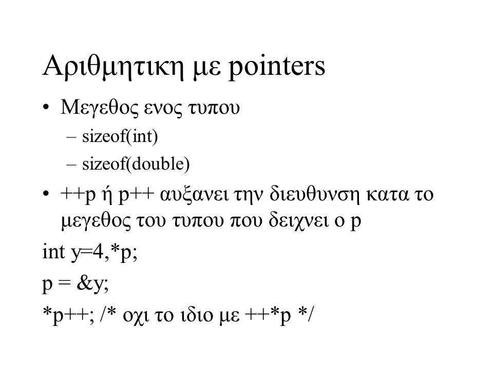 Αριθμητικη με pointers Μεγεθος ενος τυπου –sizeof(int) –sizeof(double) ++p ή p++ αυξανει την διευθυνση κατα το μεγεθος του τυπου που δειχνει ο p int y