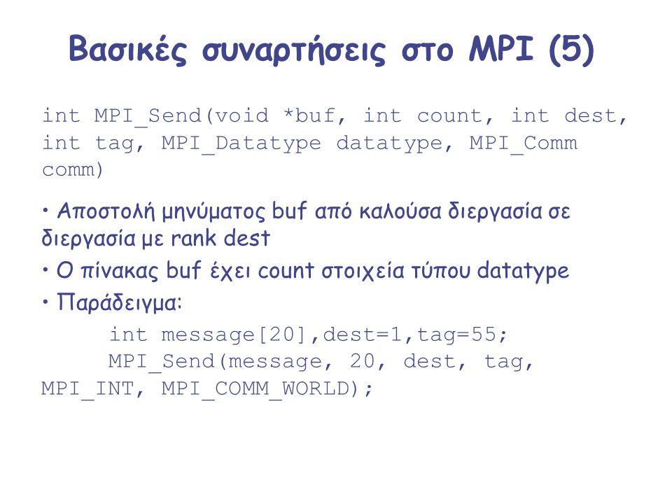 Βασικές συναρτήσεις στο MPI (5) int MPI_Send(void *buf, int count, int dest, int tag, MPI_Datatype datatype, MPI_Comm comm) Αποστολή μηνύματος buf από