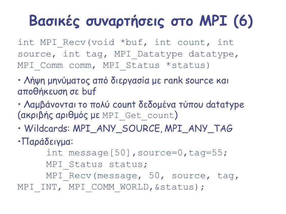 Βασικές συναρτήσεις στο MPI (6) int MPI_Recv(void *buf, int count, int source, int tag, MPI_Datatype datatype, MPI_Comm comm, MPI_Status *status) Λήψη