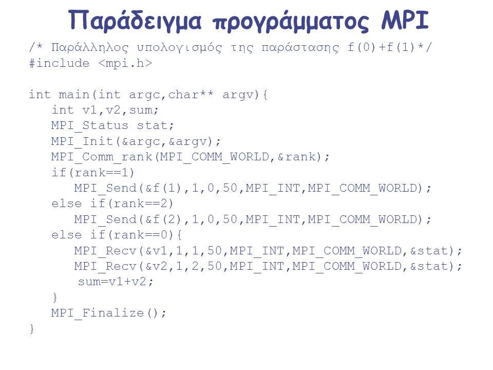 Παράδειγμα προγράμματος MPI /* Παράλληλος υπολογισμός της παράστασης f(0)+f(1)*/ #include int main(int argc,char** argv){ int v1,v2,sum; MPI_Status st